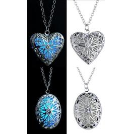 Locket Heart Oval Necklace Glow in the Dark
