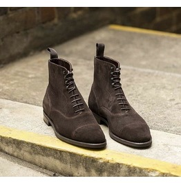 Handmade Men Coffee Brown Suede Ankle Boots, Cap Toe Ankle High Boot