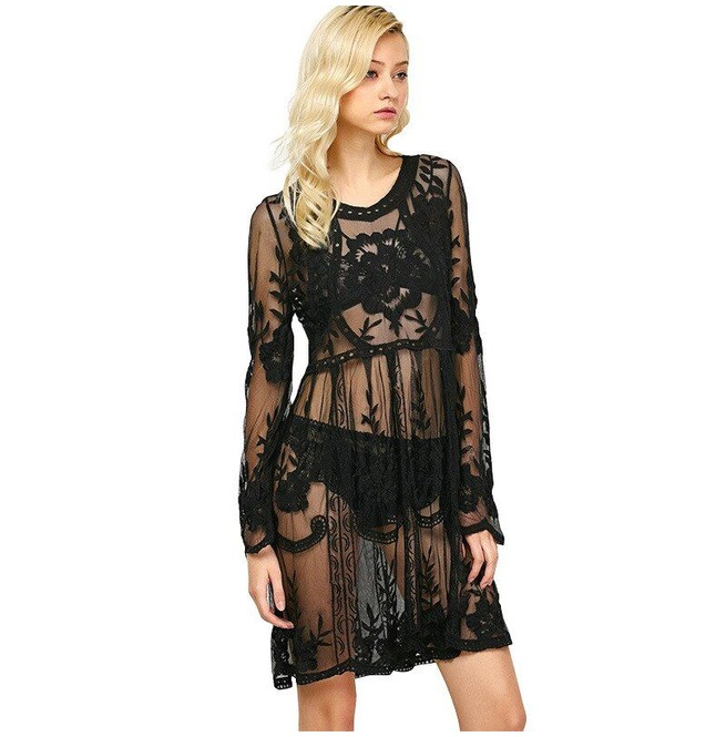 Sexy Crochet Lace Beach Cover Up Dress