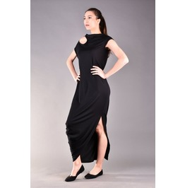 Long Black Dress, Cold Shoulder, Evening Dress, Party Dress, Draped Dress