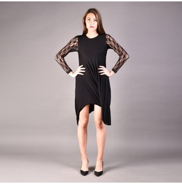 Black Draped Dress, Extravagant Dress, Woman Draped Dress