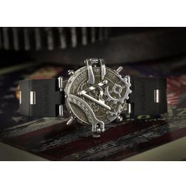 Steampunk Vintage Gear Stainless Steel Watch Black Band