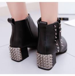 Side Zipper Chunky Heels Rivets Studded Women Boots