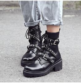 Side Zipper Chunky Heels Strap Rivets Women Boots