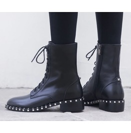 Side Zipper Lace up Chunky Heels Rivets Women Boots