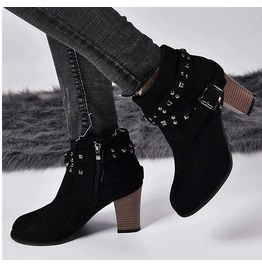 Buckle Strap Rivets Thick High Heels Suede Women Boots