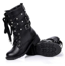 Stylish Lace up Buckle Straps Rivets Women Boots