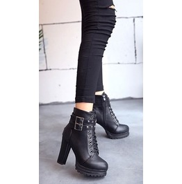 Double Straps Lace up Buckle Straps Rivets Women Boots