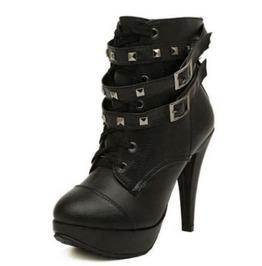 Stylish Thin High Heels Buckle Straps Rivets Women Boots