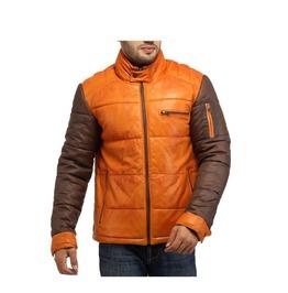 Men Best Seller Lamb Leather Puffer Jacket With Nylon Sleeve