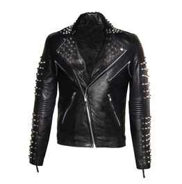 Men Best Seller Lamb Leather Punk Studded Jacket