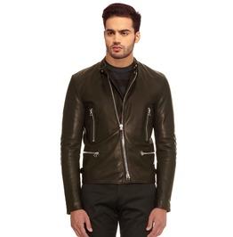 Men Lamb Leather Double Zip Biker Look Fitted Jacket