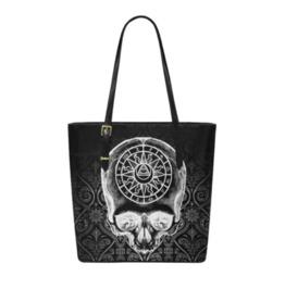 Zodiac Skull Leather Tote Bag