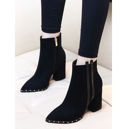 Pointed Toe Black Suede Side Zipper Women Boots
