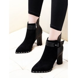 Pointed Toe Black Suede Reptile Pattern Women Boots