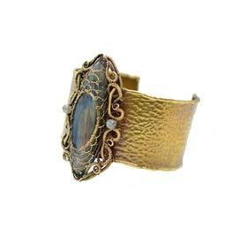 Gothic Style Cuff Bracelet With Labradorite Gemstone