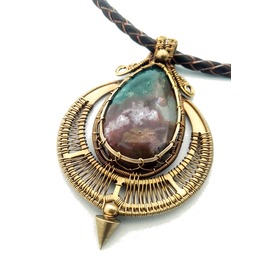 Bronze Bloodstone Pendant With Spike Tribal Choker Genuine Leather