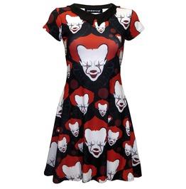 Creepy Killer Clown Joker Evil Horror Halloween Bat Collar Skater Dress