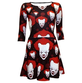 Creepy Scary Killer Clown Joker Evil Blood Halloween 3/4 Sleeve Dress