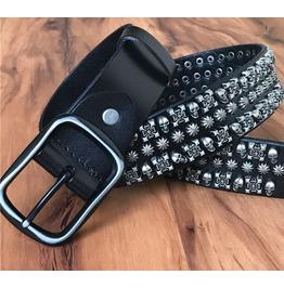 Steampunk Skull Rivets Studded Leather Belt