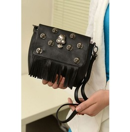 Metal Skulls Head Tassel Shoulder Handbag