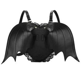 Punk Black Bat Wing Design Zipper Backpack