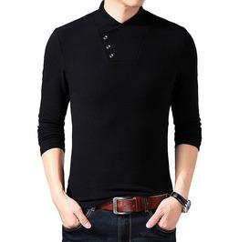 Black button design turtle neck slim fit shirt rebelsmarket