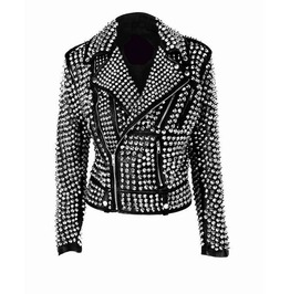 Womens rock star all over silver studded cowhide leather moto jacket rebelsmarket