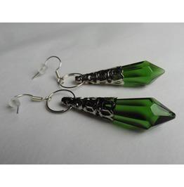 Elven Emerald Green Point Crystal Earrings, Wedding, Pagan, Fairy, Magic