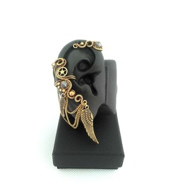 Large Steampunk Cartilage Earcuffs With Gemstones And Chains
