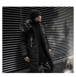 Mens Long Sleeve Padded Winter Warm Zip Up Hooded Parka Jacket