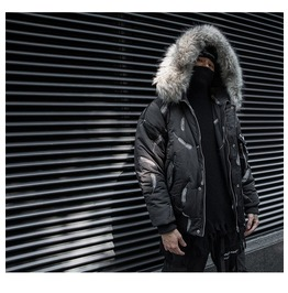 Winter Men's Leaf Print Hooded Cotton Coat