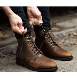 Mens Antique Brown Lace up Leather Ankle Boot, Men Antique Look Boots