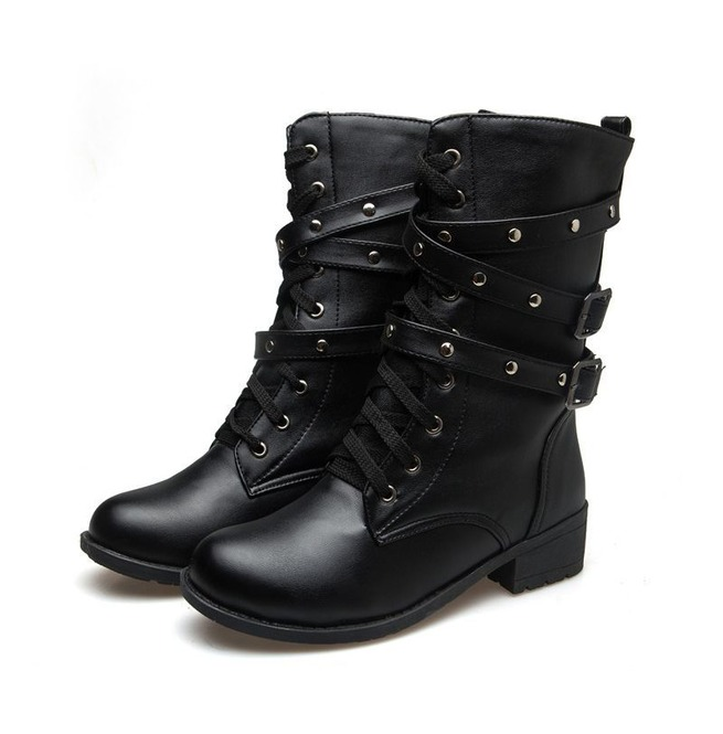 Black Lace Up Boots No Heel