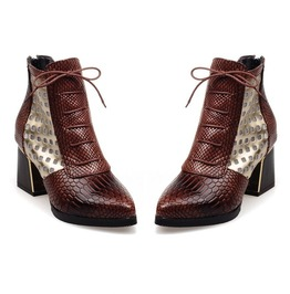 Mixed Colors Animal Prints Pointed Toe PU Leather Ankle Boots