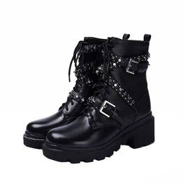 Rivets Buckle Genuine Leather Chelsea Motorcycle Ankle Party Boots