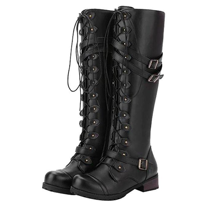 Black tall steampunk bootsvintage riding footwear