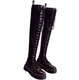 Gothic Steampunk Black Lace Up Over The Knee Thigh High Boots Military Martin
