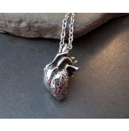 Antique Silver 3D Anatomical Heart Necklace Cardiologist