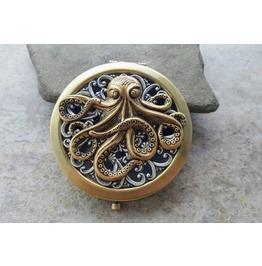 Handmade Oxidized Brass Octopus Compact Mirror