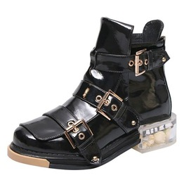 Zipper Closure Short Plush Genuine Leather Buckle Party Boots
