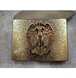 Handmade Antique Bronze Embossed Victorian Angel Cigarette Case