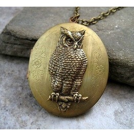 Handmade Large Vintage Owl Locket