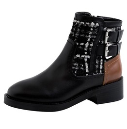 Color Block Buckle Zipper Genuine Leather Ankle Party Boots