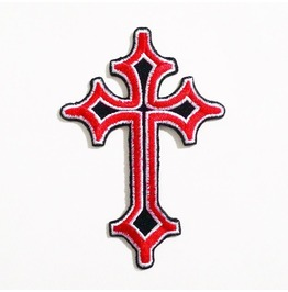 """EMBROIDERED PATCH 7CM X 7CM Black /& White 2-3//4/"""" CELTIC CROSS"""