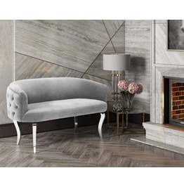 Adina Grey Velvet With Silver Legs Loveseat