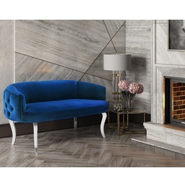Adina Navy Velvet With Silver Legs Loveseat
