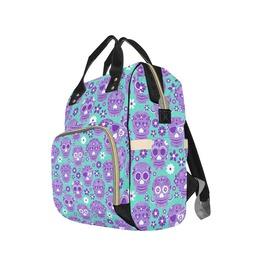 Aqua & Lilac Sugar Skull Baby Diaper Nappy Changing Backpack Bag