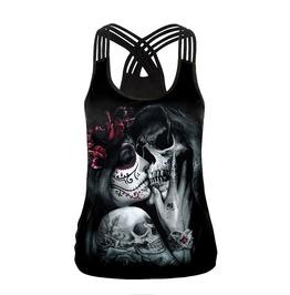 Gothic Steampunk Skull Girl Print Cross Back Tank Top