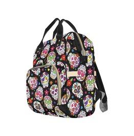 Black Sugar Skull Baby Diaper Nappy Changing Backpack Bag